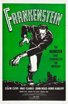 Frankenstein Vintage Horror Movie Poster, 1931 - http://retrographik.com/frankenstein-vintage-movie-poster-1931/ - classic, film, frankenstein, horror, movie, Poster, retro, vintage