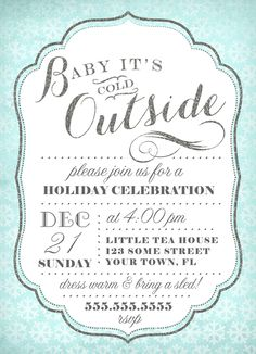 Christmas Invitation Template - Winter Chalkboard Holiday Party ...