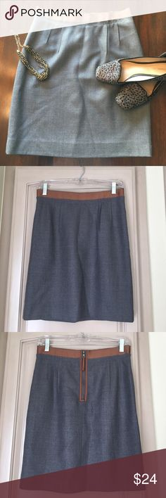 LOFT Gray Wool Skirt w/ Brown Ribbon Waist size 4P Gorgeous gray wool pencil skirt with adorable brown ribbon waist and zipper from Ann Taylor LOFT size 4P. Excellent like new condition, no flaws. LOFT Skirts