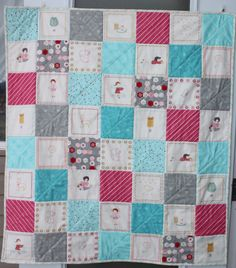 Patchwork Baby Quilt, nursery decor, gift for baby, adorable illustrations of children, animals, birds and garments, pink, aqua, gray by DaydreamsOfQuilts on Etsy