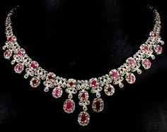 Rubies, Marcasite & Sterling Silver Necklace & Dropper earrings Suite.  Georgian style.