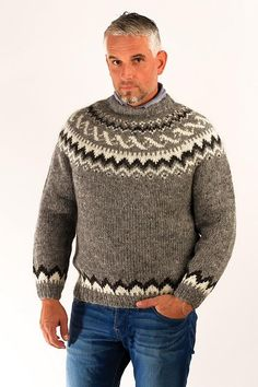 The Icelandic sweater is hand knitted from finest Icelanc wool yarn. The Wool Sweaters offers great selection of quality hand knitted sweaters. Hand Knitted Sweaters, Wool Sweaters, Sweater Fashion, Men Sweater, Crochet Men, Icelandic Sweaters, Country Attire, Hand Knitting, Knitting Patterns