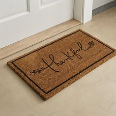 Thankful Coir Doormat | Crate and Barrel