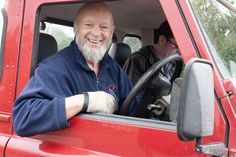 Michael Eavis stops by in his van during a check on the site.
