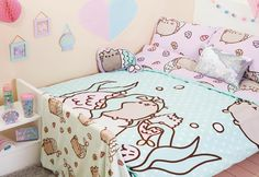 PUSHEEN MERMAID Duvet Reversible Bed Set Primark SINGLE DOUBLE KING
