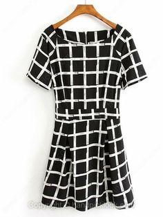 Black Round Neck Short Sleeve Plaid Chiffon Dress -$21.99