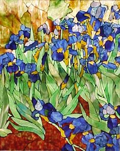 """Van Gogh's Irises"" in stained glass ~ by Nasrene MacDonald ~ Light Romance Studios"