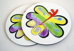 Set of 2 Original Art Butterfly Coasters - Whimsical - Freedom. $15.90, via Etsy.
