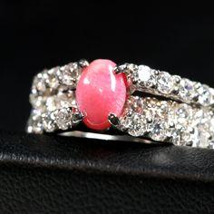 コンクパール0.8ct ダイヤモンド0.9ct プラチナ リング