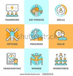 Line icons set with flat design elements of business people teamwork, personal development growth, key person value, headhunting process, team leader skills. Modern vector pictogram collection concept