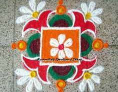 Get of beautiful rangoli designs for Diwali, New Year and Competition. Discover these beautiful rangoli designs of Ganesh, peacocks and with flowers. Rangoli Colours, Rangoli Patterns, Rangoli Kolam Designs, Rangoli Designs Images, Rangoli Ideas, Beautiful Rangoli Designs, Mehndi Designs, Small Rangoli Design, Rangoli Designs With Dots