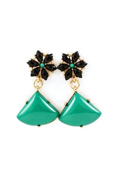 Interesting, different drop shape. Estoria Earrings in Emerald Teal on Jet on Emma Stine Limited