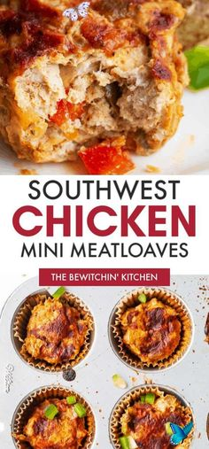 Southwestern Chicken Meatloaf Muffins | The Bewitchin' Kitchen Looking for low carb meal prep recipes? Try these mini meatloaves made with ground chicken! Southwestern Chicken Meatloaf Muffins are a hit in my family and they're so easy to make! Loaded with veggies, this high protein dinner option is a tasty recipe! #chickenmuffins #lowcarbrecipes<br> If you're looking for a healthy and tasty meal prep recipe (or just a quick and easy dinner) then you're going to love these low carb Chicken… Low Carb Dinner Recipes, High Protein Recipes, Healthy Recipes, Healthy Breakfasts, Healthy Foods, Salad Recipes, Keto Recipes, Ground Chicken Meatloaf, High Protein Dinner