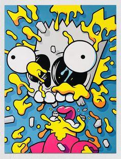 pop art A deconstructed Bart Simpson by Matt Gondek. Trippy Painting, Cartoon Painting, Cartoon Art, Cartoon Characters, Trippy Cartoon, Hippie Painting, Cartoon Illustrations, Cute Cartoon Drawings, Simpsons Drawings