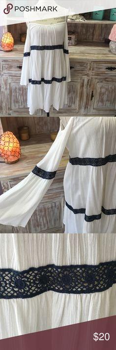NWOT white boho shift dress White shift dress with cold shoulder bell-sleeves and blue crochet detailing Dresses Long Sleeve