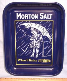 Morton Salt ~ Girl with Umbrella Tin Tray History of Umbrella Girl on Back ~ When it Rains, It Pours ~ Old Vintage Variety and Dime Store Stock Merchandise