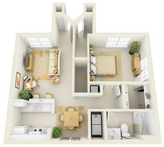 Two bedroom small house plans under 1000 sq ft 3d designs for 1br apartment design ideas