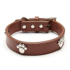 Real Leather Paw Cut Puppy Collars Adjustable Necklace Studs Pet Cat Dog Collars M L XL for Medium and Large Pet