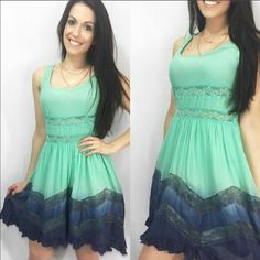 """Mint & Navy Flowy Lace Accent Dress I am in love with this!  It is now sold out everywhere so I cannot restock so get them while you can! This gorgeous flowy lace accent mint and navy dress is just perfection. Has a double Lined lower so it is not see through on the bottom. Top has lace accent under bust that is see through. So comfortable and makes you feel so elegant. Made of 100% rayon. Fits TTS Have S(2-4) M(6-8) L(10-12) price is firm unless bundled. Apprx 33"""" - PREVIOUS CUSTOMER…"""