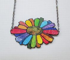Recycled Paper Mosaic Necklace - Gerber Daisy - Rainbow - pinned by pin4etsy.com