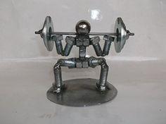 On Sale Squat Weight Lifter Metal Bolt Figurine Athlete Welding Art Projects, Metal Art Projects, Metal Crafts, Welding Tips, Welding Crafts, Blacksmith Projects, Metal Welding, Scrap Metal Art, Blacksmithing