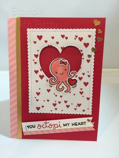 Lawn fawn and mama elephant octopi my heart stamp and die set Octopus Hearts, Octopus Card, Valentine Day Cards, Valentines, Mama Elephant, Table Cards, Lawn Fawn, Love Cards, Treat Bags