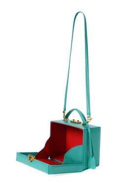 Grace Turquoise Small Top Handle Trunk by Mark Cross for Preorder on Moda Operandi