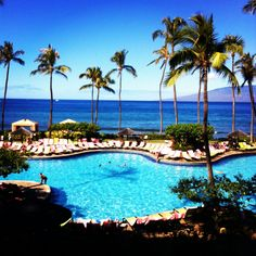 Hyatt Regency Maui - lovely upscale resort at the end of Kaanapali Beach.  Note that the beach is narrow here...but good beach about a 5 min walk away.  journeystohawaii.com