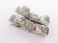 silver sparkle clipssmall 2 inch tuxedo hair door BowsForShow
