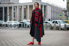 Thought fashion month was over? Think again. After Paris comes Mercedes-Benz Fashion Week Russia. In Moscow, expect to see young showgoers in bulky coats, flashy footwear, and plenty of streetwear. A favorite label here? Homegrown designer Gosha Rubchinskiy's garb always makes an appearance.