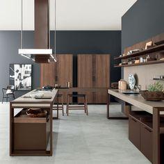 Cozinha de madeira com península RUSTIC CHARME Coleção Arts