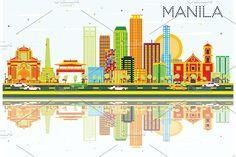 #Manila #Skyline with #Color #Buildings by Igor Sorokin on @creativemarket