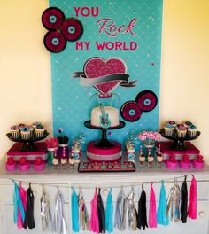 You Rock My World Valentine's Day Playdate dessert table! | CatchMyParty.com