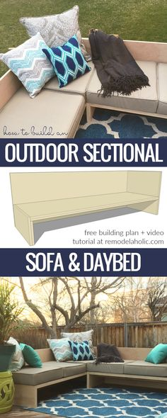 How To Build A Modern Outdoor Sectional Sofa From 2 Sheets Of Plywood #PlywoodPretty | Free building plan and video tutorial @Remodelaholic
