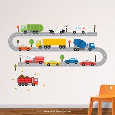 Overview Create the perfect nursery or kids bedroom space with this stylish Cars & Trucks Wall Decal set from Maxwill Studio. - Easy to apply, just peel and stick - Removable, reusable, repositionable Car Themed Bedrooms, Bedroom Themes, Kids Bedroom, Bedroom Designs, Bedroom Ideas, Vinyl Wall Stickers, Wall Decals, Wall Vinyl, Wall Art