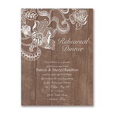 Wood and Lace - Rehearsal Dinner Invitation. Available at Persnickety Invitation Studio. Lace Wedding Invitations, Rehearsal Dinner Invitations, Wedding Rehearsal, Rehearsal Dinners, Bridal Shower Invitations, Custom Invitations, Invitation Design, Wedding Stationery, Invites