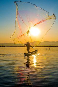 Fisherman at Rawapening, Ambarawa, Indonesia