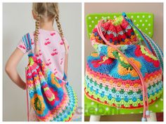 cute crochet bag - not in english but I understand the idea, very cute and colorful Crochet Diy, Beau Crochet, Crochet Mignon, Crochet Tote, Crochet Handbags, Crochet Purses, Love Crochet, Crochet For Kids, Beautiful Crochet