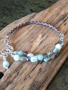 Leather Bracelet Natural blue Agate Nugget gems Jasper