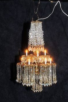 Exquisite Large Dollhouse Miniature Artist Handmade Crystal Chandelier Electric