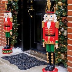 SET OF 2 Indoor Outdoor Nutcracker Toy Soldier Statue Porch Christmas Outdoor Christmas Decorations Uk, Nutcracker Christmas Decorations, Paper Decorations, Christmas Entryway, Diy Christmas Tree, Christmas Toys, Christmas Ornaments, Christmas Greenery, Christmas Stockings
