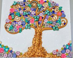 Klimt inspired Tree of Life in Polymer Clay and beads.