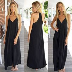 Black Maxi Tank Dress. Perfect with a pair of pointed heels-it's party time!