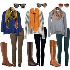 Royal blue sweater, olive/grey pants, yellow/green shades scarf; black/white striped top, mustard scarf, black leggings; grey sweater, floral scarf, navy pants; brown leather boots