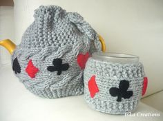 Matching TeaPot Cozy and Mug Cozy  grey color by IskaCreations, $40.00