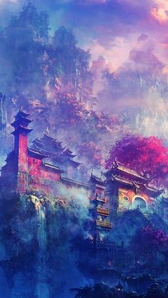 Asian Village In The Mountains Fantasy iPhone wallpaper Art Anime, Anime Kunst, Art Asiatique, Nature Wallpaper, Landscape Wallpaper, Wallpaper Edge, Sunshine Wallpaper, Asian Wallpaper, Iphone 5s Wallpaper