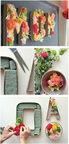 Easy way to make flower display using Paper Mache letter. This one spells the word MOM. What a great Mothers Day Gift.
