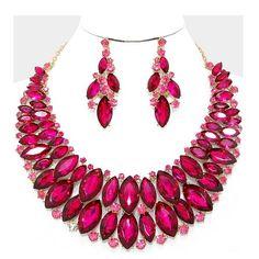 Statement Luxus Set Schmuck-Set Kette Lange Ohrringe Kristall Rosa und Pink Fuchsia