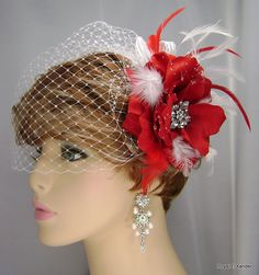 Red Rose Fascinator with White Blusher Veil with by RoyalEXander, $70.00