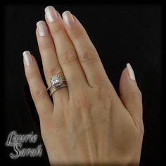 Vintage Look Ring - Princess Cut Diamond Ring with Blue Sapphire and Diamond Halo and Diamond Wedding Band - LS2560. $7,624.45, via Etsy.